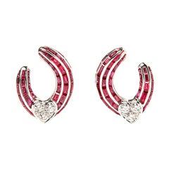 Graff 18 Karat White Gold Ruby Baguette and Diamond Ear Clips