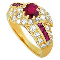 Graff 18 Karat Yellow Gold, 1.10 Carat Diamond and Ruby Ring