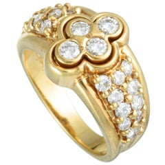 Graff 18 Karat Yellow Gold Diamond Flower Band Ring