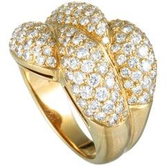 Graff 18 Karat Yellow Gold Diamond Pave 4 Leaf Wide Band Ring