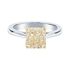 Graff 2.16ct Radiant Cut Fancy Light Yellow VS2 'GIA' Diamond Solitaire Ring