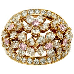 Graff Bombe White and Pink Diamond Flowers Ring