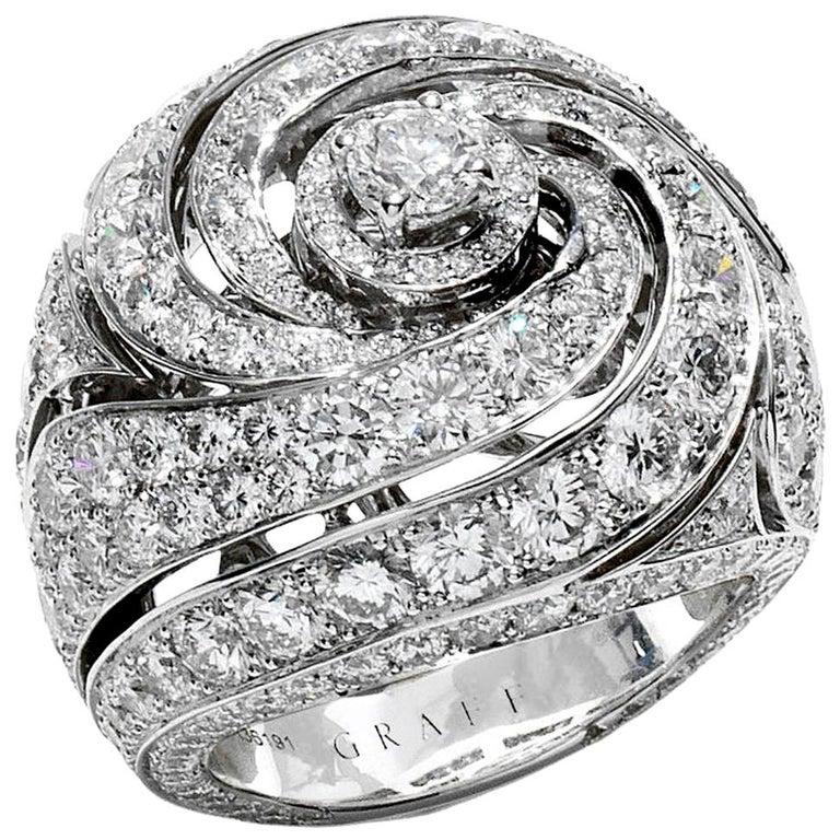 Graff Bombe White Gold Diamond Cocktail Ring For Sale