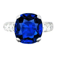 Graff No Heat 6.61 Carat Burma  Sapphire Diamond Platinum Ring