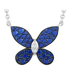 Graff Butterfly 18 Karat White Gold Diamond and Sapphire Pendant Necklace