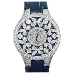 Graff Butterfly White Gold Diamond and Blue Sapphire Watch BF32WGDS