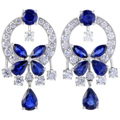 Graff Classic Butterfly 18K White Gold Full Diamond Pave and Sapphire Dangle Ear