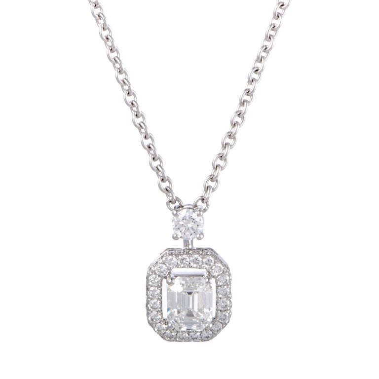 Graff Constellation Emerald Cut Diamond and Gold Pendant Necklace