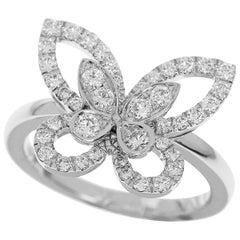 Graff Diamond 18 Karat White Gold Butterfly Silhouette Ring US 3 1/2