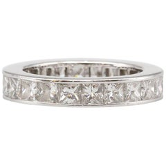 Graff Diamond and Platinum Princess Cut Eternity Ring