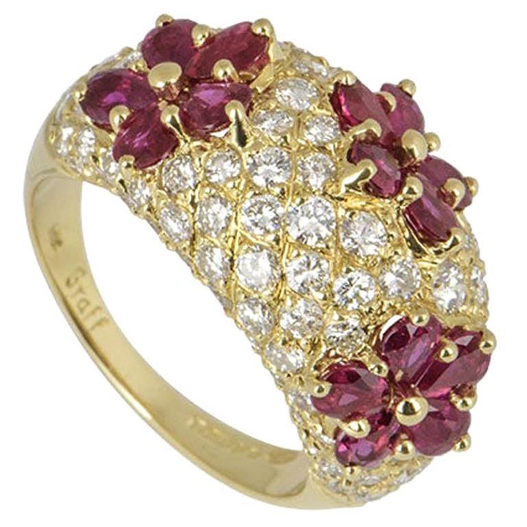 Graff Diamond and Ruby Flower Motif Ring