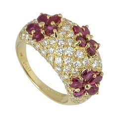 Graff Diamond and Ruby Flower Motif Ring