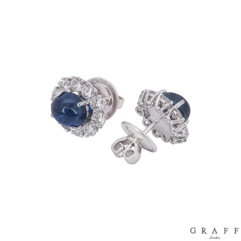 Graff Diamond and Sapphire Earrings In Excellent Condition For Sale In London, GB