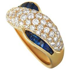Graff Diamond and Sapphire Yellow Gold Band Ring