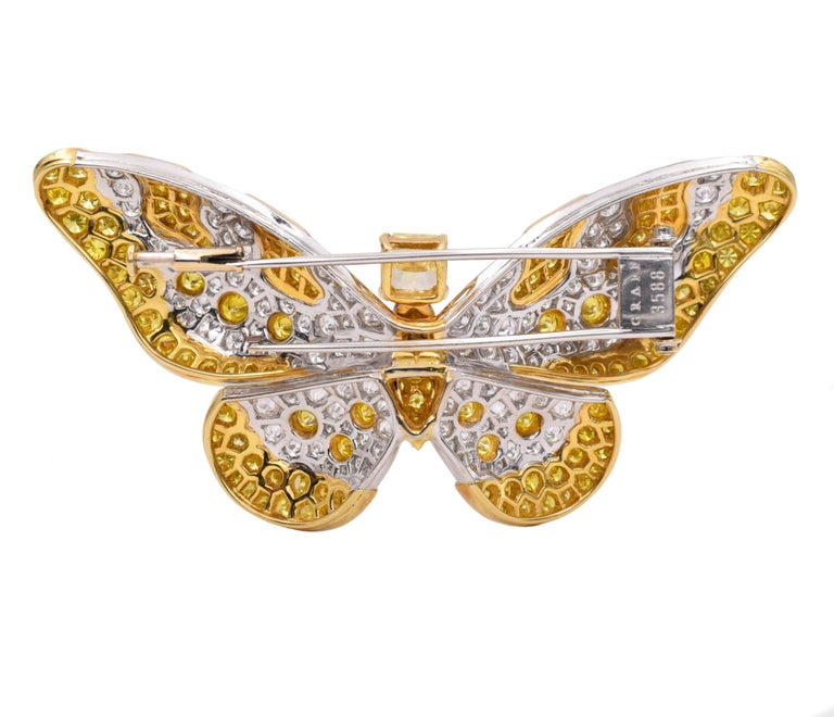 Artist Graff Yellow And White Diamond Butterfly Brooch For Sale