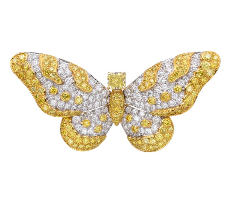 Radiant Cut Graff Yellow And White Diamond Butterfly Brooch For Sale