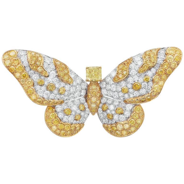 Graff Yellow And White Diamond Butterfly Brooch For Sale