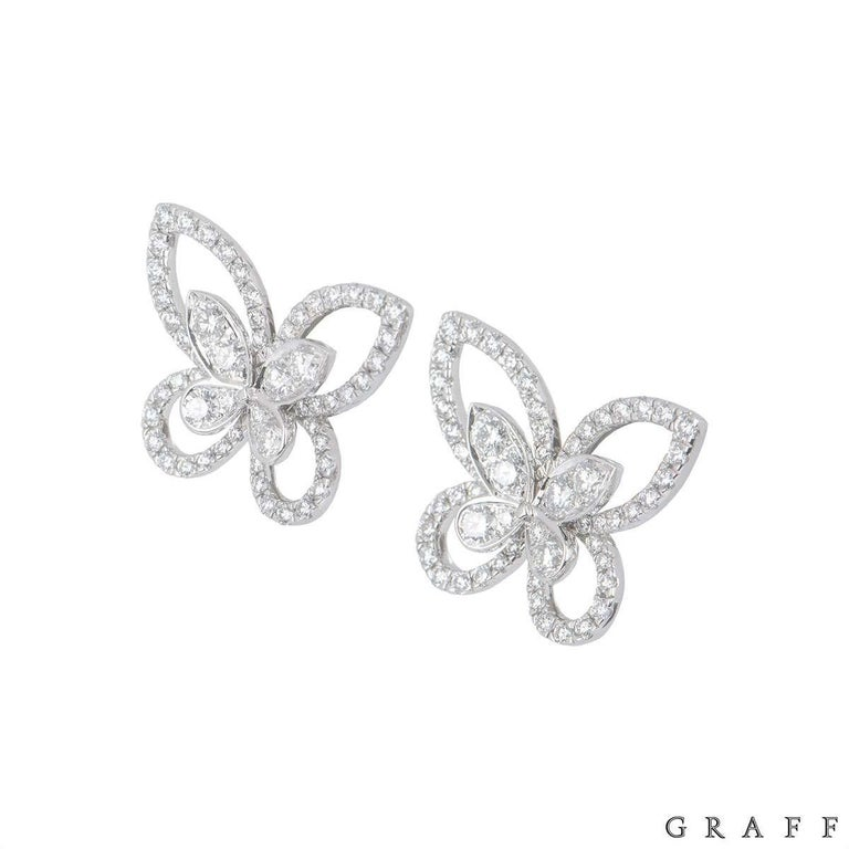An 18k white gold pair of diamond diamond Butterfly earrings by Graff from the Butterfly collection. The earrings feature an openwork Butterfly motif set with round brilliant cut diamonds with a total weight of 1.23ct. The earrings measure 1.9cm x