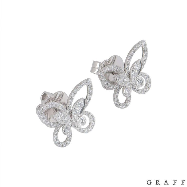 Graff Diamond Butterfly Earrings In Excellent Condition For Sale In London, GB