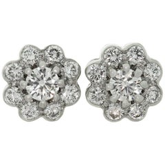 Graff Diamond Cluster Platinum Stud Earrings