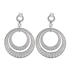 Graff Diamond Double Hoop White Gold Earrings