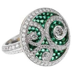 Graff Diamond on Emerald Wave Diamond White Gold Cocktail Ring