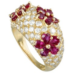 Graff Diamond Pave and Ruby Yellow Gold Flowers Bombe Ring