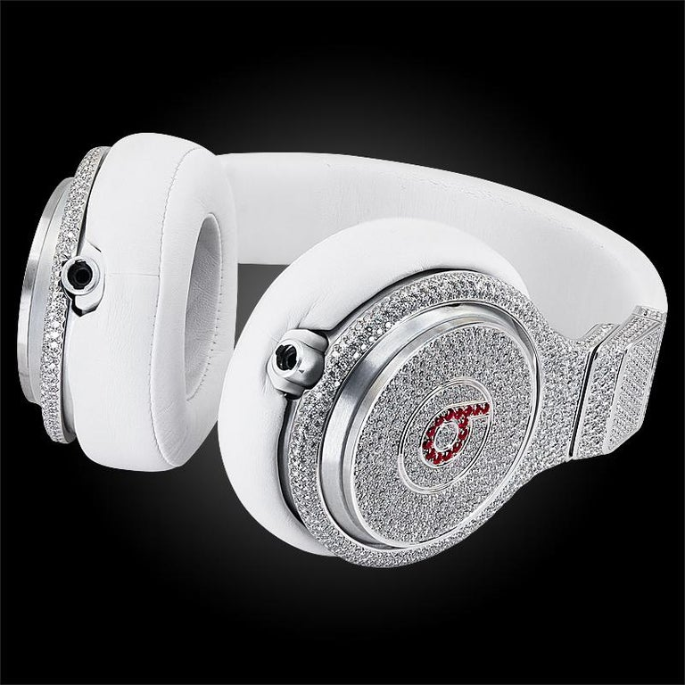 Created especially for the Halftime Show at Super Bowl XLVI, one-of-a-kind pair of 'Beats Pro' by Dr. Dre headphones made in collaboration with Graff. The fusion of these two iconic, luxury brands perfectly combines the best in the quality of their