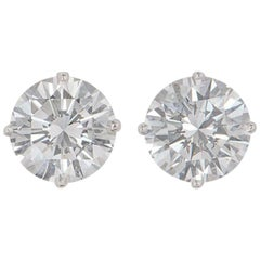 Graff Diamond Stud Earrings 4.28 Carat, 2.14 Carat Each GIA Certified