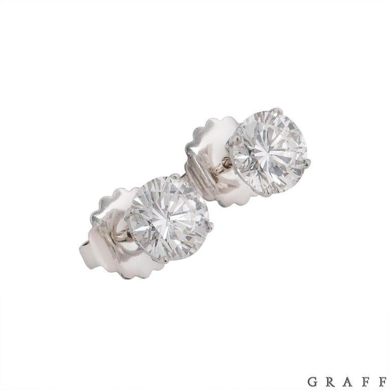 Graff Diamond Stud Earrings 4.28 Carat, 2.14 Carat Each GIA Certified In Excellent Condition For Sale In London, GB