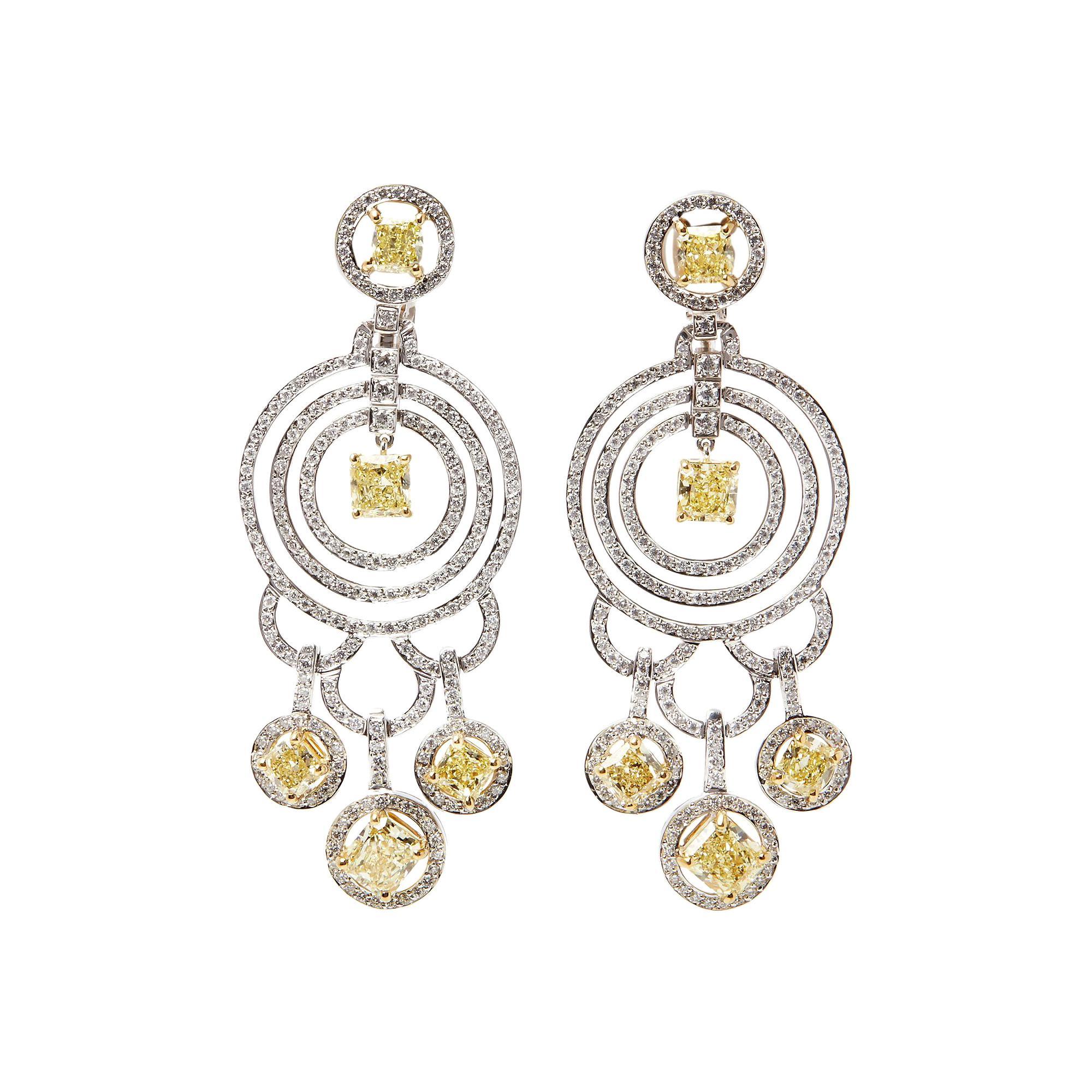 Graff Diamonds 18 Karat Gold Fancy Yellow and White Diamond Dress Earrings