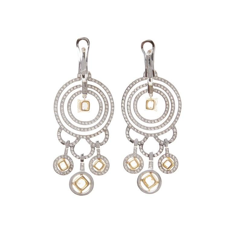 Round Cut Graff Diamonds 18 Karat Gold Fancy Yellow and White Diamond Dress Earrings For Sale