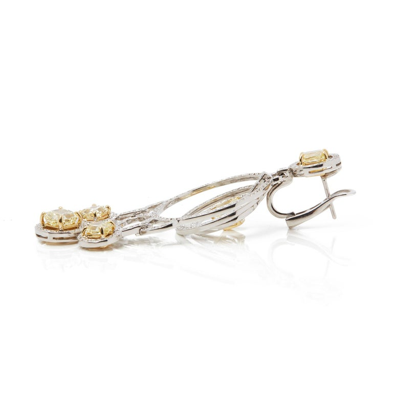 Women's Graff Diamonds 18 Karat Gold Fancy Yellow and White Diamond Dress Earrings For Sale