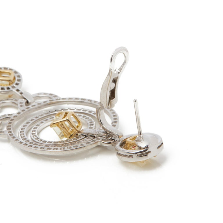 Graff Diamonds 18 Karat Gold Fancy Yellow and White Diamond Dress Earrings For Sale 1