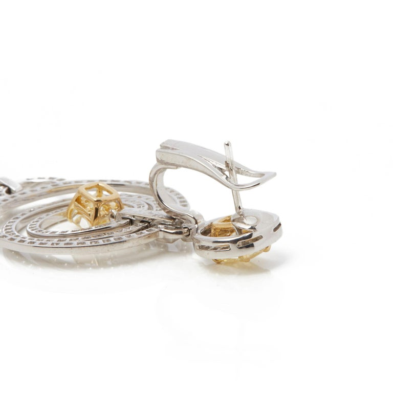 Graff Diamonds 18 Karat Gold Fancy Yellow and White Diamond Dress Earrings For Sale 2