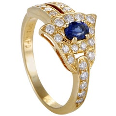 Graff Diamonds Diamond Sapphire Pave Diamond 18 Karat Yellow Gold Ring