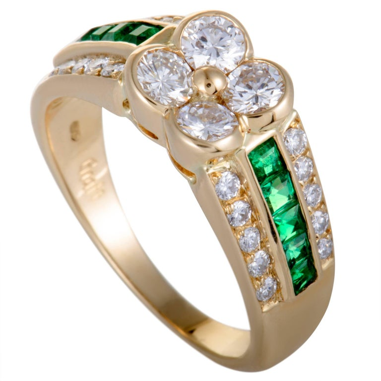 Graff Emerald and Diamond Gold Flower Cocktail Ring