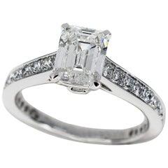 Graff Emerald Cut 1.14 Carat Diamond Ring Platinum Ring