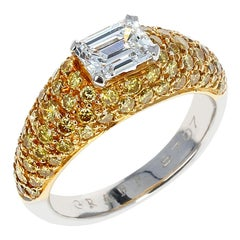 Graff Emerald-Cut Diamond and Yellow Diamond Bombe Gold Ring