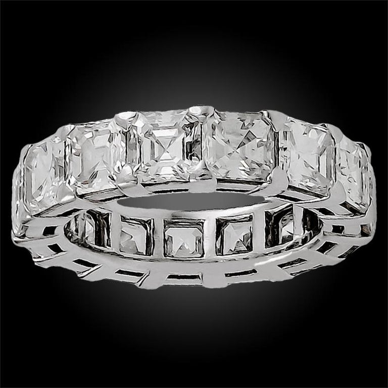 Emerald Cut Graff Emerald-Cut Diamond Eternity Ring For Sale