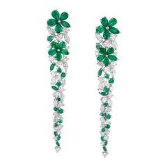 Graff Emerald Diamond Carissa Flower Earrings Extra Long in 18 Karat Gold