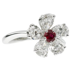 Graff Flower Ruby Diamond Cocktail Ring