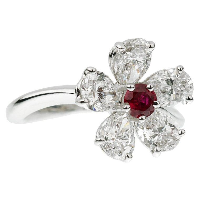 Graff Flower Ruby Diamond Cocktail Ring For Sale