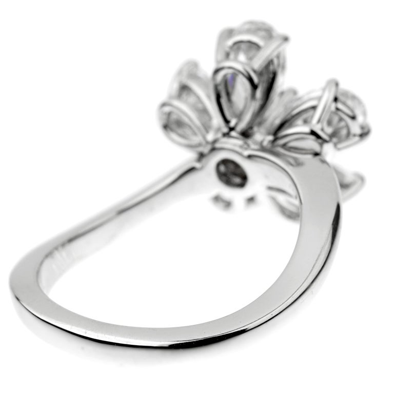 Pear Cut Graff Flower Ruby Diamond Cocktail Ring For Sale