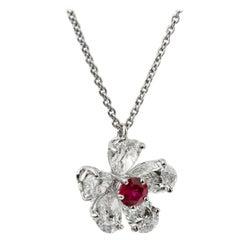 Graff Flower Ruby Diamond Platinum Pendant Necklace