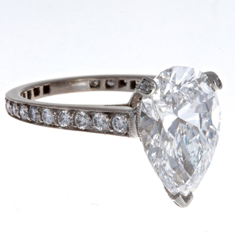 If only the best will do; this Graff ring features a spectacular GIA certified pear shape 3.33 carat D Flawless diamond. Moreover, the diamond is certified as type IIA, which are only 2% of all diamonds; making it extremely rare and valuable. The D