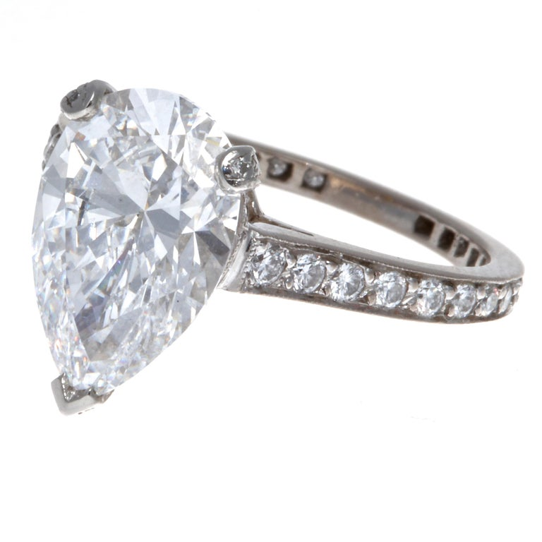 Modern Graff GIA 3.33 Carat Pear Shape D Flawless Diamond Platinum Ring For Sale