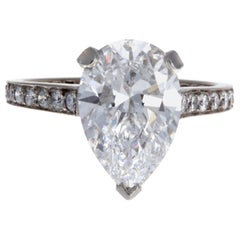 Graff GIA 3.33 Carat Pear Shape D Flawless Diamond Platinum Ring