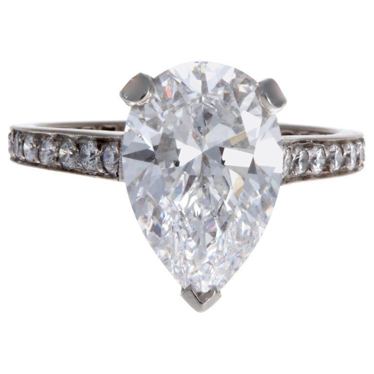 Graff GIA 3.33 Carat Pear Shape D Flawless Diamond Platinum Ring For Sale