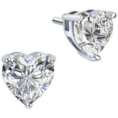 Graff GIA Certified 4.22 Carat Heart Shape Diamond Solitaire Stud Earrings 18K